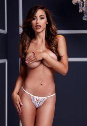 Chiloti cu crapatura Obsessive Bikini cu fontita albi