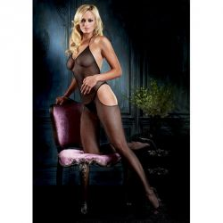 Catsuit Bodystocking Queen Catsuit Leg Avenue negru