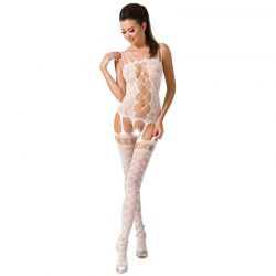 Catsuit Semitransparant Queen Catsuit Passion BS054 Alb
