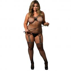 Catsuit Semitransparant Queen Catsuit V-Neck Leg Avenue Plus Size