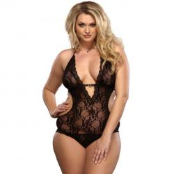 Body negru lucios Subblime Body Leg Avenue Plus Size