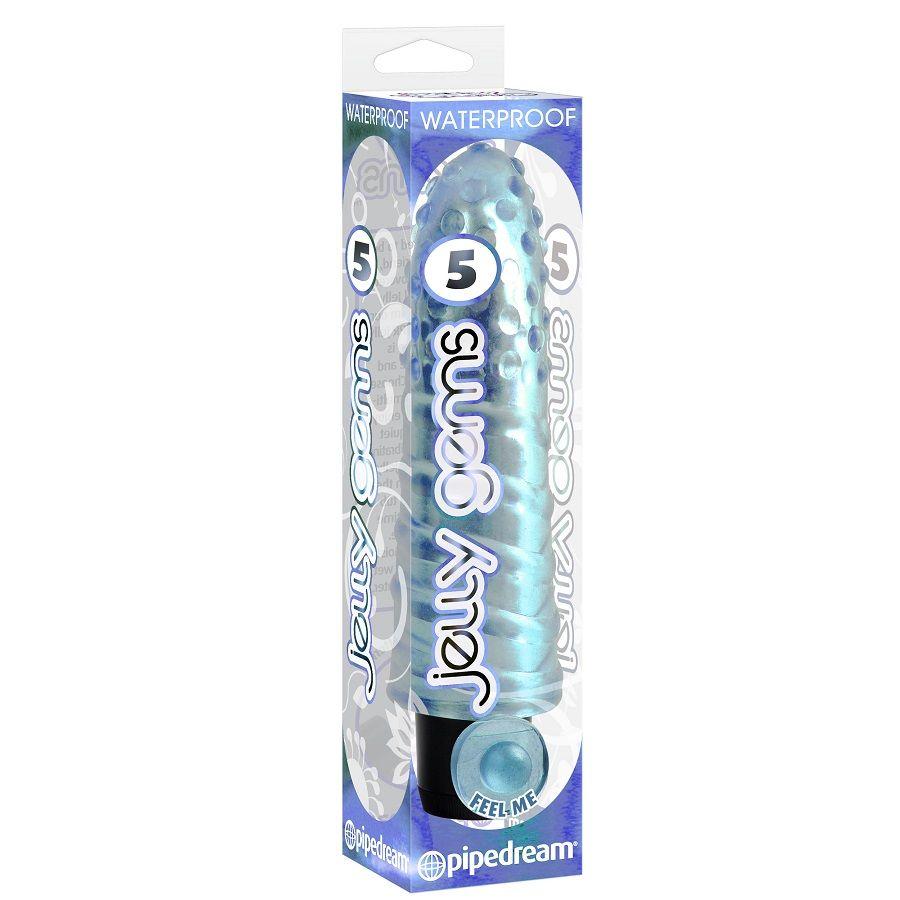 Vibrator Jelly Gems 12 cm Albastru