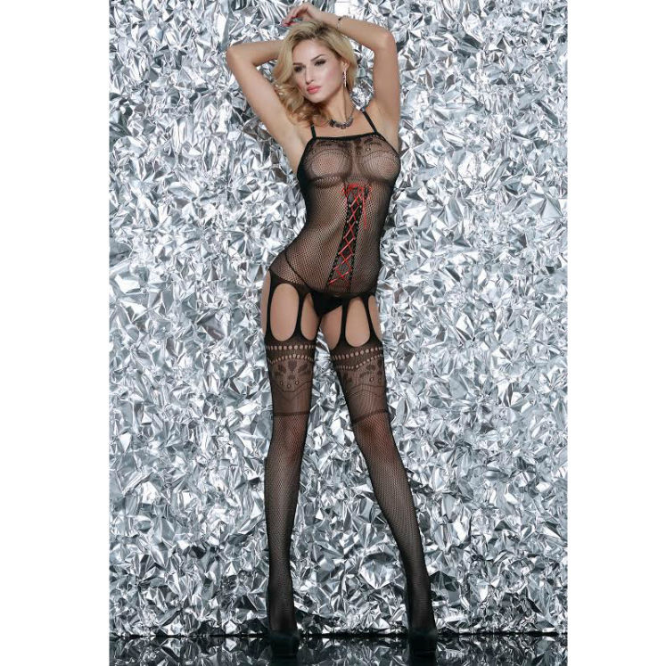 Catsuit Bodystocking Red Bow Queen