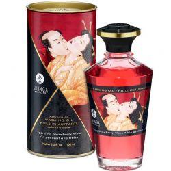 Ulei de masaj afrodisiac Libido Powe 200ml Ulei afrodisiac Shunga cu aroma capsuni 100ml
